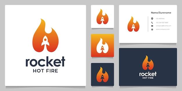 Foguete abstrato chama de fogo quente design de logotipo espaço negativo estilo