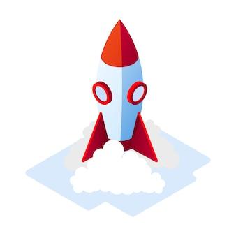Foguete azul com detalhes em vermelho decolando, deixando baforadas de fumaça. lançamento de aeronaves. inicialização, início de projeto bem-sucedido, produto de inovação, ideia criativa, científica, conceito isométrico de liderança.