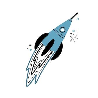 Foguete bonito doodle estilo desenhado à mão. estrelas do vetor e foguete no espaço isolado no fundo branco