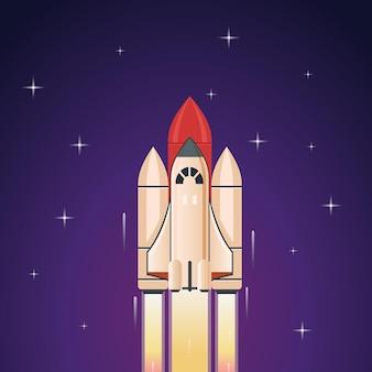 Foguete com fogo voando no espaço sideral para estrelas conceito de inicialização de viagens espaciais