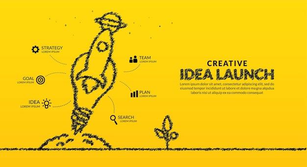 Foguete com lâmpada lançando para o fundo do infográfico do espaço conceito de inicialização de ideias criativas