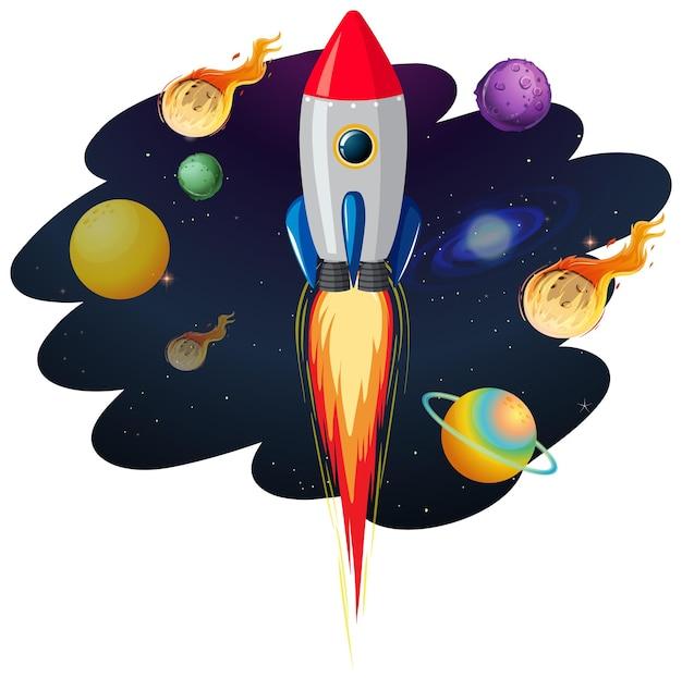 Foguete com muitos planetas e asteróides