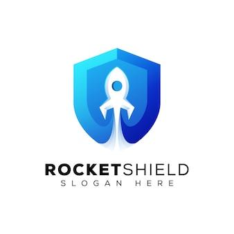 Foguete com o conceito de design do escudo, aumentar o modelo de logotipo de segurança