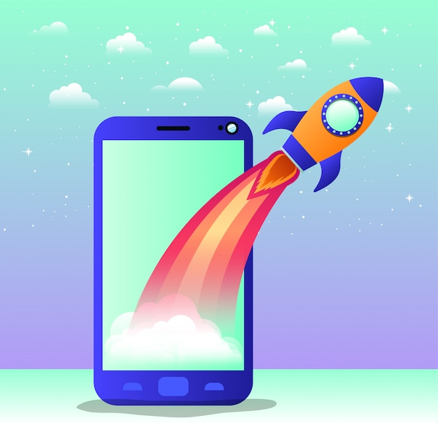 Foguete começar com smartphone