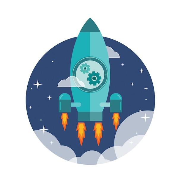 Foguete de alta velocidade lançado para o espaço