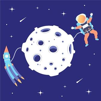 Foguete de astronauta sobrevoa espaço próximo à lua satélite de aterrissagem missão lunar excursão starspace