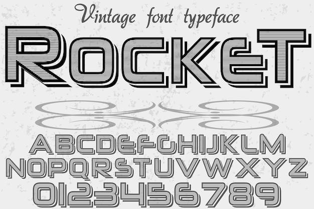 Foguete de design de fonte de tipo de estilo antigo