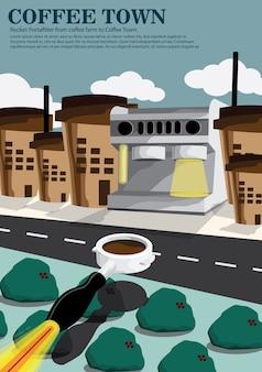 Foguete de foguete da fazenda de café para a cidade do café
