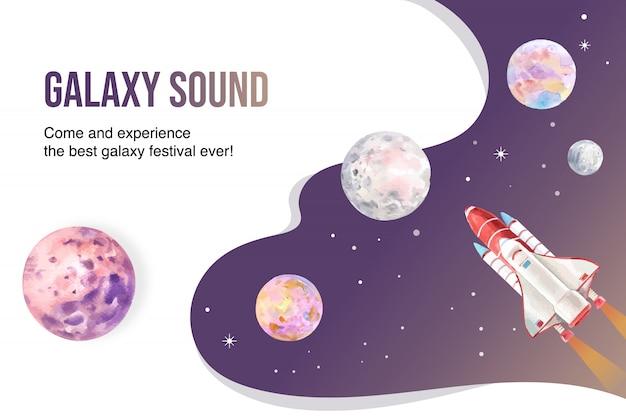 Foguete de galáxia, ilustração em aquarela de planetas.