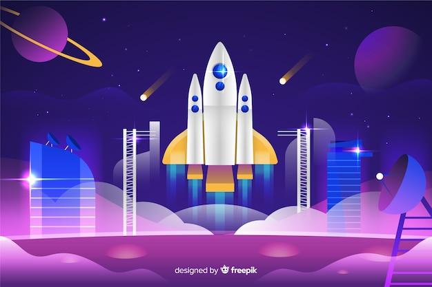 Foguete de gradiente em uma plataforma de lançamento