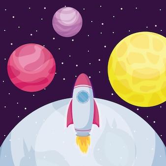Foguete de inicialização com a lua e planetas