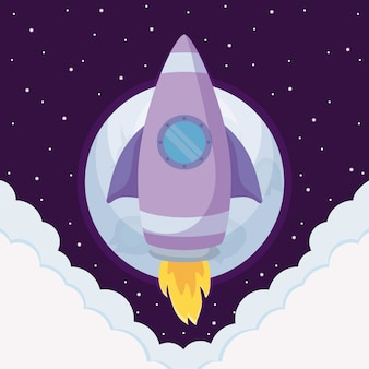 Foguete de inicialização com nuvens e lua