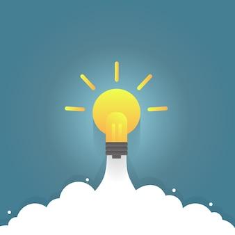 Foguete de lâmpada, impulso de idéia.