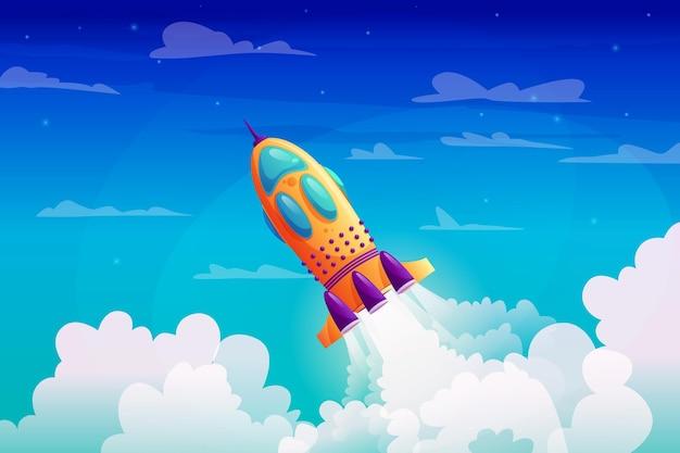 Foguete de lançamento de nave espacial com traço de fogo e fumaça no céu estrelado azul e nave espacial de nuvens brancas