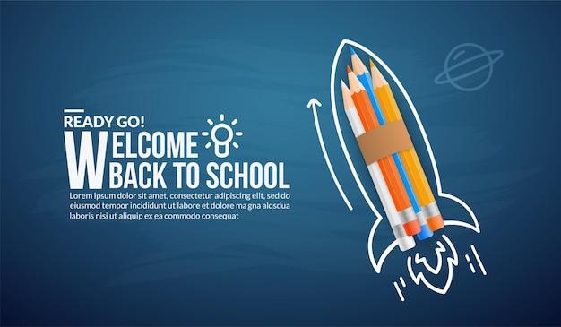 Foguete de lápis de cor lançando ao espaço, bem-vindo de volta à escola