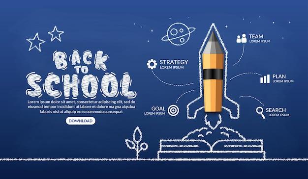 Foguete de lápis realista saindo do livro, bem-vindo de volta à escola