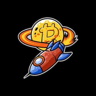 Foguete de mineração de bitcoin moeda mercado espaço nave espacial estrela