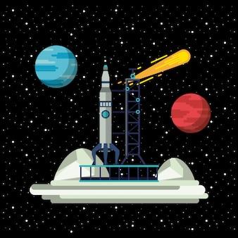 Foguete de nave espacial na estação