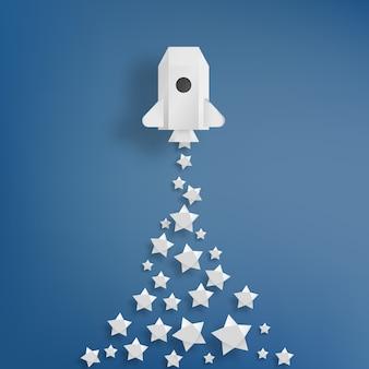Foguete de papel com ilustração vetorial de fundo estrela