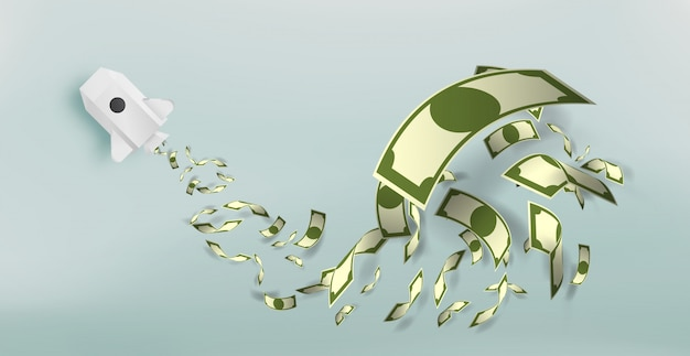 Foguete de papel com um monte de ilustração vetorial de dinheiro