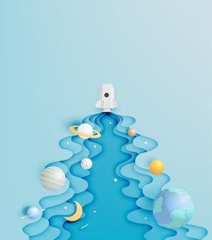 Foguete de papel e arte de papel sistema solar com ilustração em vetor fundo tom pastel