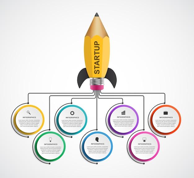 Foguete de um lápis para brochuras e apresentações educacionais e empresariais