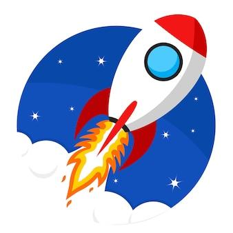 Foguete decola para o espaço. comece