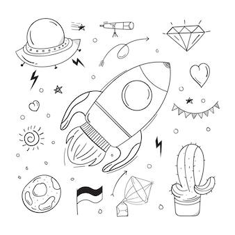 Foguete doodle com conceito de espaço