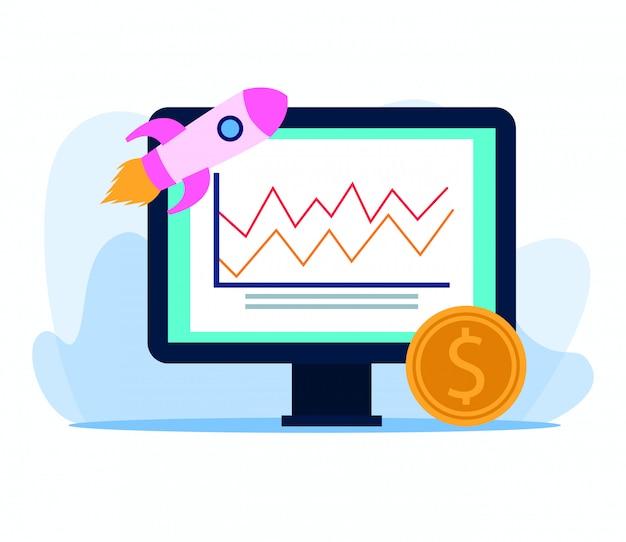 Foguete e moeda com computador com gráficos gráfico em branco