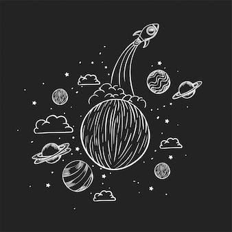 Foguete e planeta desenhar