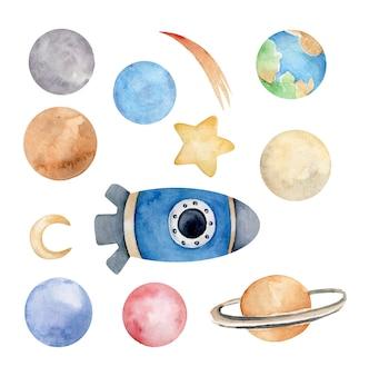 Foguete em aquarela e conjunto de planetas cosmos