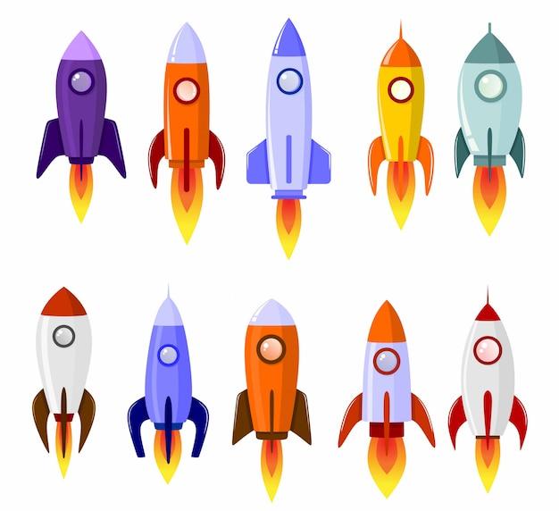 Foguete espacial arranque conjunto de símbolo de lançamento do conceito