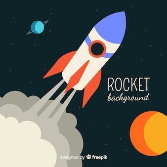 Foguete espacial clássico com design plano
