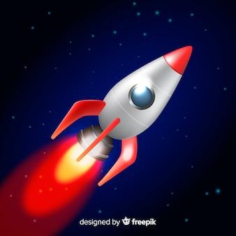 Foguete espacial clássico com design realista