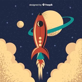 Foguete espacial clássico com estilo vintage