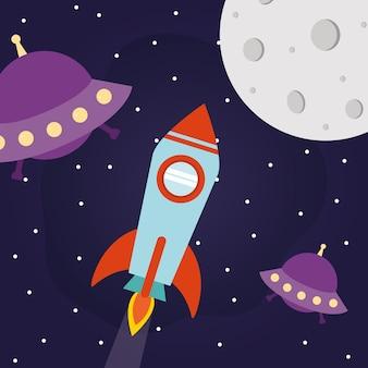 Foguete espacial com ufos e lua em um fundo estrelado de tema futurista e cosmos