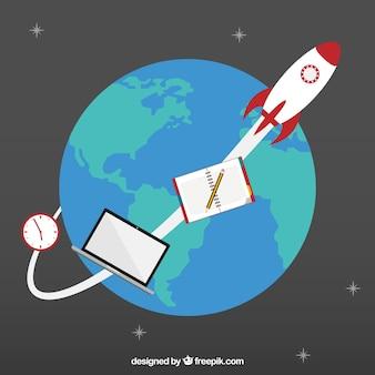 Foguete espacial em órbita ao redor da terra
