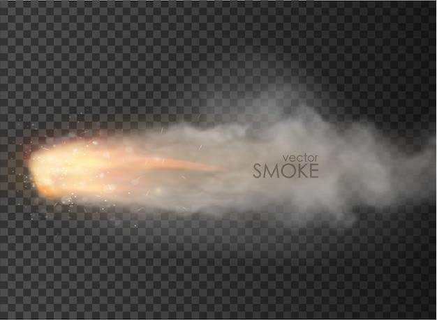 Foguete espacial fumaça isolado em fundo transparente