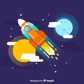 Foguete espacial moderno com design plano