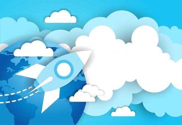 Foguete espacial no céu sobre o fundo azul do modelo de terra e nuvens