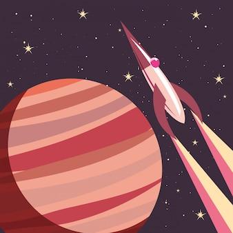 Foguete espacial voando