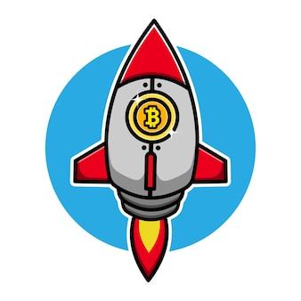 Foguete fofo com personagem de desenho animado com emblema de bitcoin