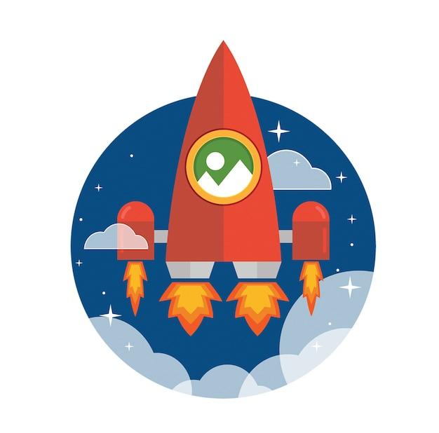 Foguete gigante vermelho plana lançado ao espaço