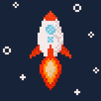 Foguete. ilustração da arte de pixel.