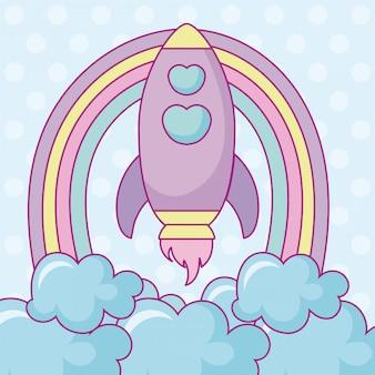 Foguete kawaii com nuvens e arco-íris