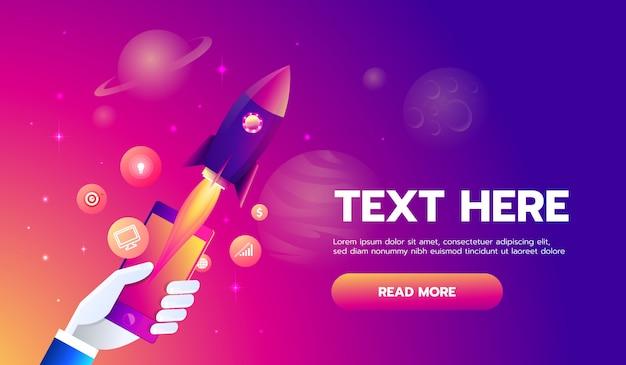 Foguete móvel do app dos ícones no fundo do espaço.