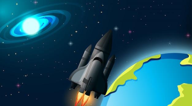 Foguete na cena do espaço