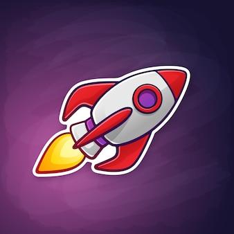 Foguete nave espacial com a chama de uma turbina voando no fundo do espaço.