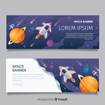 Foguete no banner do espaço sideral