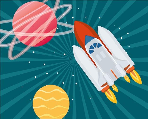 Foguete no espaço com planetas do sistema solar